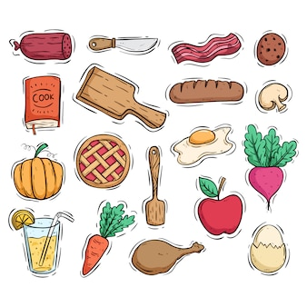 Healthy breakfast food and kitchen tools with colored doodle style