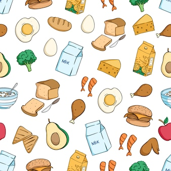 Healthy breakfast food seamless pattern with colored doodle style