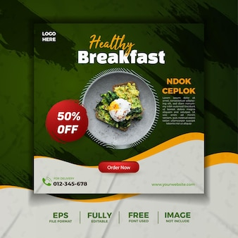Здоровый завтрак зеленый баннер в социальных сетях шаблон флаера