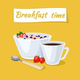 Healthy breakfast illustration. oatmeal porridge in the bowl with berries and strawberries