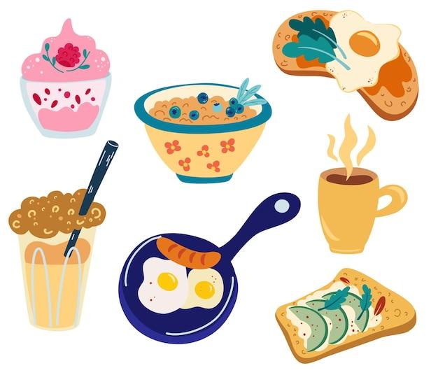 Набор блюд здоровый завтрак. яичница, каша с ягодами, тост с авокадо, чай, кофе, яичный бутерброд, фруктовый йогурт. разнообразные вкусные продукты и горячие напитки. векторная иллюстрация для еды, меню.