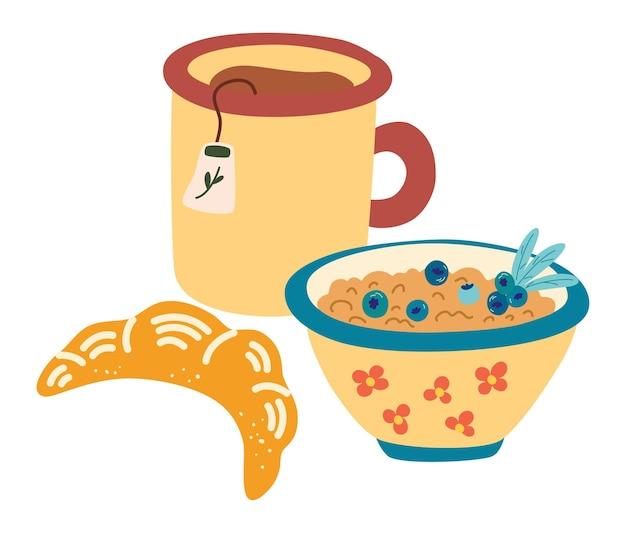 건강한 아침 식사. 차 한 잔, 딸기가 든 죽, 크루아상. muesli와 함께 클래식 메뉴입니다. 개념 수제, 건강 식품, 아침 모드. 음식, 영양, 메뉴 개념에 대한 벡터 일러스트 레이 션
