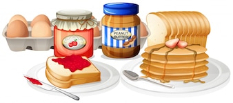 Healthy Breakfast on White Background