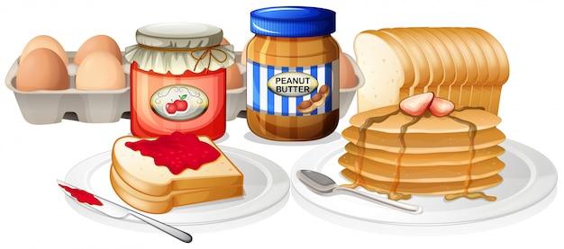 白い背景で健康的な朝食