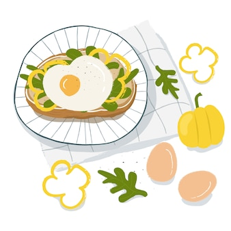 健康的な朝食、サンドイッチ、目玉焼き、レタス、ピーマンのトップビュー。ベジタリアン料理のコンセプト