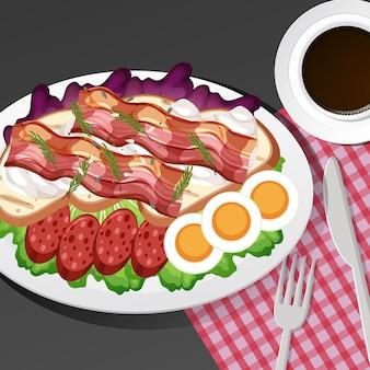 テーブルにセットされたヘルシーな朝食