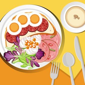 탁자 위에 놓인 건강한 아침 식사