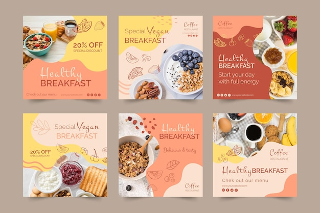 Healthy breakfast social media posts template