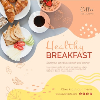 Healthy breakfast square flyer