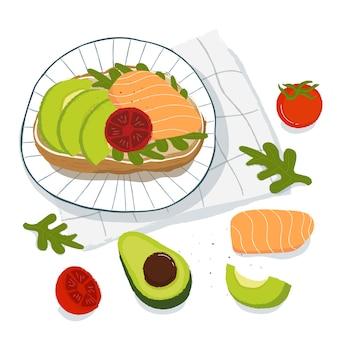 健康的な朝食、アボカド、サーモンとトマトのトースト、トップビュー。ベジタリアン料理のコンセプト
