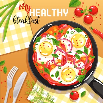 Healthy breakfast with eggs vegetables and greenery on frying pan at table top view flat illustration