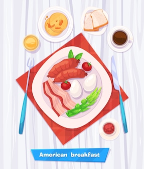 Здоровый завтрак с колбасой, беконом, кофе, яйцами и соком. вид сверху на стильный деревянный стол с копией пространства. иллюстрация.