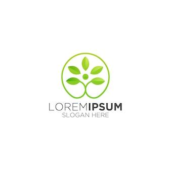 健康的な円形の成長する葉のロゴ
