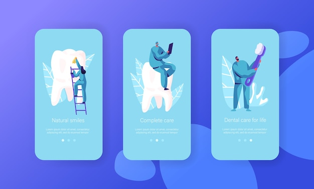 Healthy clean white teeth mobile app page onboard screen set. natural smiles complete care dental for life. dentist consultation website or web page. flat cartoon vector illustration