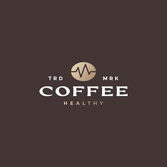 Здоровые кофейные зерна сердцебиение логотип вектор значок иллюстрации