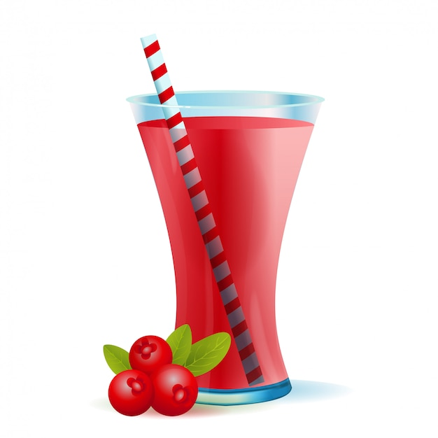 Healthy cranberry smoothie drink illustration