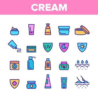 Healthy cream elements icons set