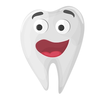Healthy cute cartoon tooth character on white background - vector