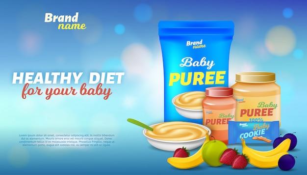 Здоровая диета для вашего ребенка рекламный баннер Premium векторы