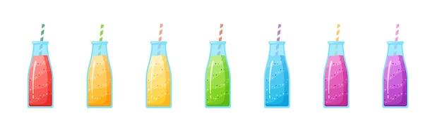 Здоровая диета коктейль напиток набор иллюстрации. стеклянная бутылка с соломинкой и слоистым свежим коктейлем в коллекции цветов радуги на белом фоне для смузи в кафе
