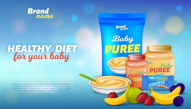 Healthy diet for your baby advertising banner