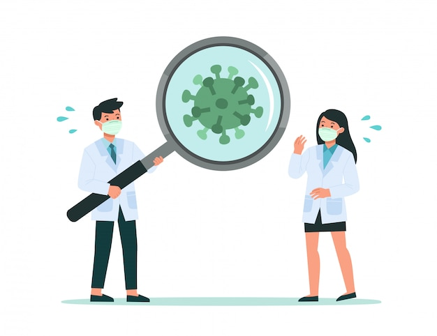 Healthy doctor looking through magnifying glass scanning covid-19 corona virus. they had discovered covid-19 corona virus. illustration