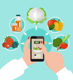女性の手でスマートフォンの周りに組み合わせた丸いアイコンセットと健康的な食事の色の概念