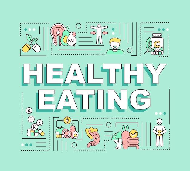 Здоровое питание красочные иллюстрации Premium векторы
