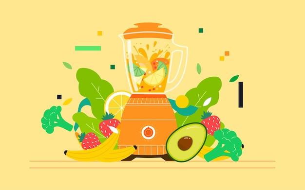 건강한 식생활 음식 일러스트 과즙 짜는기구 주스 다이어트 피트니스 포스터