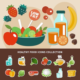Healthy eating icon collection
