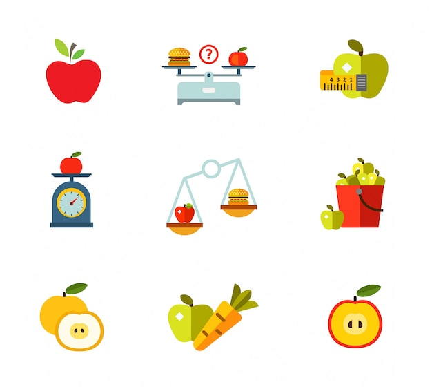 Healthy eating icon set