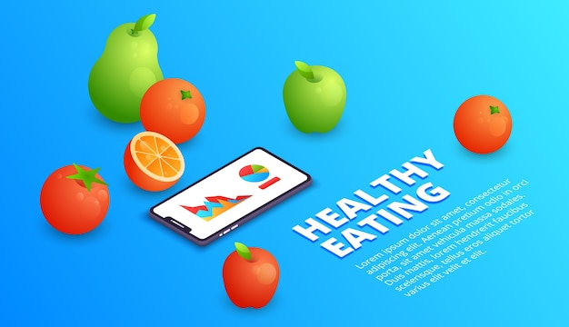 Healthy eating illustration of smartphone application for diet and fitness nutrition.