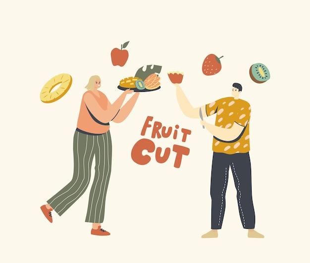 건강한 식생활, 남성 및 여성 캐릭터가 봉사 테이블을 위해 다른 과일을 자릅니다.