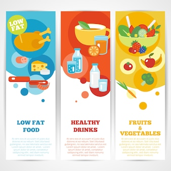 Healthy eating vertical banner set