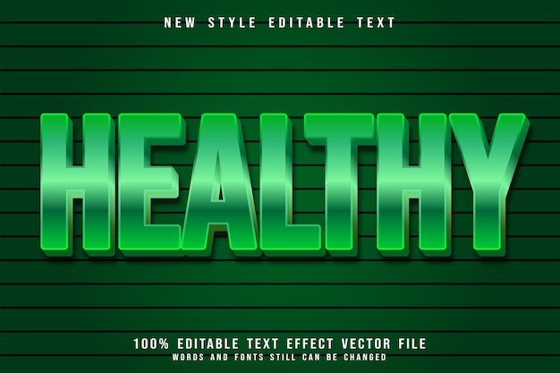 Healthy editable text effect emboss modern style