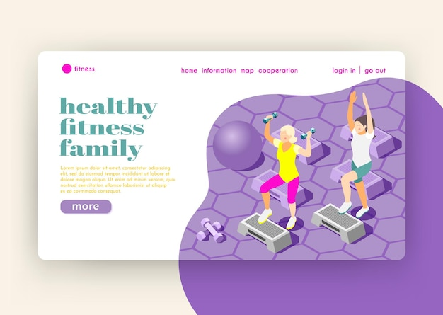 Healthy family fitness isometric landing page with female characters doing exercises in gym hall flat