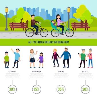 건강한 가족 인포 그래픽 개념