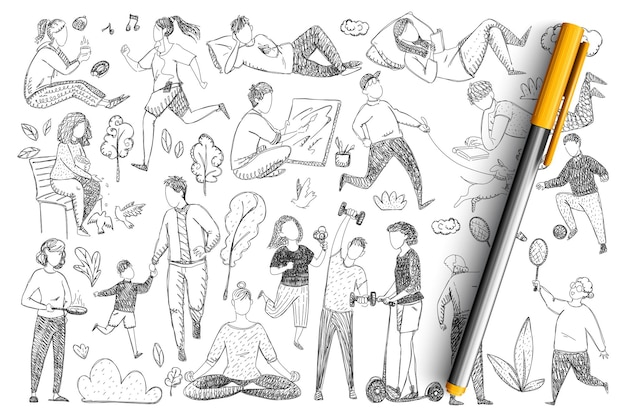 Healthy family lifestyle doodle set. collection of hand drawn parents doing sport, meditating, playing games, walking with children isolated.