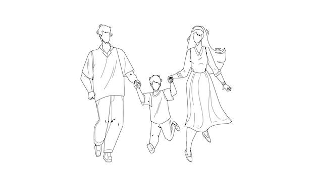 Здоровая семья гуляет вместе на открытом воздухе