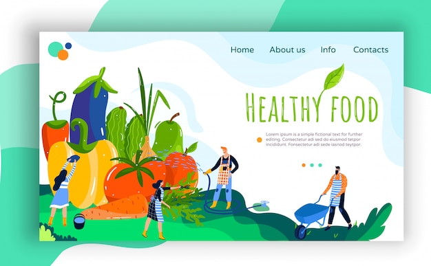 Healthy farm food illustration banner, website interface creative design with tiny people farmers watering fresh organic vegetables