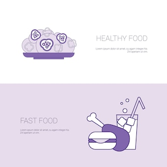 Healthy and fast food concept template web banner