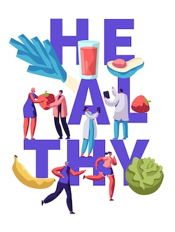 건강 피트니스 음식 타이포그래피 배너 디자인. 다이어트 영양 건강 개념에 대한 유기농 식사. 채식 라이프 스타일 동기 부여 포스터 플랫 만화 벡터 일러스트 레이션을위한 야채와 과일 메뉴