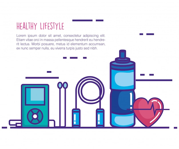 Healthy and fitness lifestyle set icons