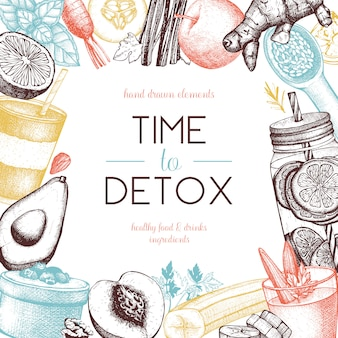 健康的な食べ物や飲み物のフレームデザイン。手で夏の背景には、野菜、果物、ナッツ、ハーブのスケッチが描かれています。デトックス成分のイラスト。
