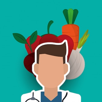 Healthy food and medical doctor image