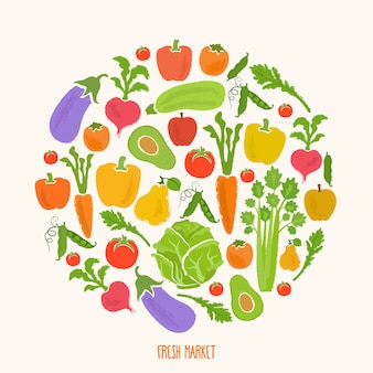 Healthy food background of fresh vegetable