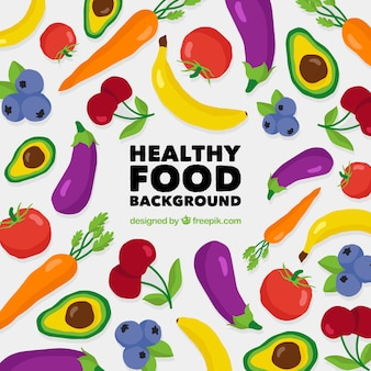 Healthy food background with flat design