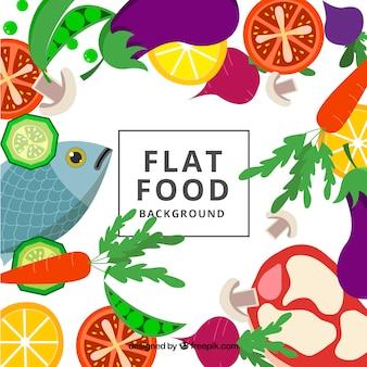 평면 디자인으로 건강에 좋은 음식 배경
