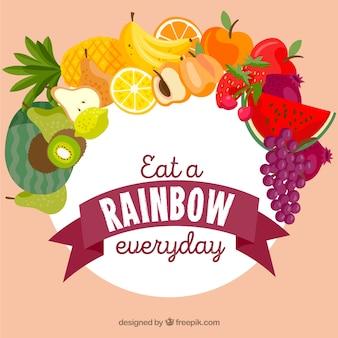 手を引くスタイルで健康的な食べ物の背景