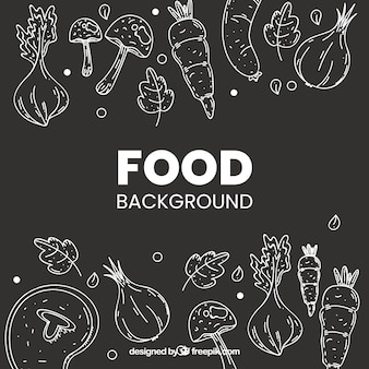 Healthy food background with hand drawn style